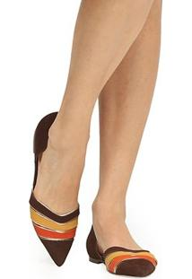 Sapatilha Couro Shoestock Bico Fino Multicor Feminina - Feminino