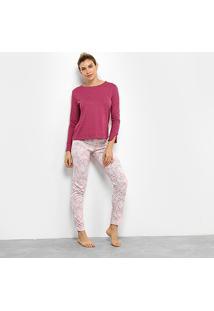 Pijama Censato Longo Floral Feminino - Feminino