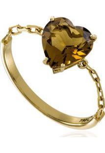 Anel Chain Heart Ouro Amarelo