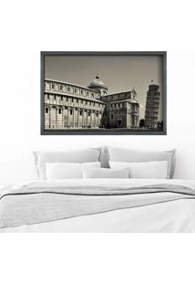 Quadro Love Decor Com Moldura Torre De Pisa Grafitti Metalizado Grande