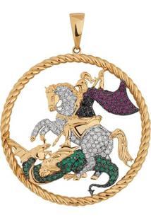 Pingente São Jorge Cravejado Em Ouro 18K - Unissex-Ouro