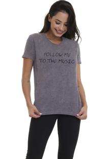 Camiseta Jay Jay Bã¡Sica Follow Me Chumbo Dtg - Cinza - Feminino - Dafiti