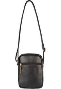 Bolsa Feminina Shoulder Bag De Couro Pietra - Feminino-Preto