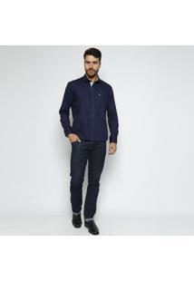Camisa Confort Fit Com Bolso- Azul Marinho & Brancavip Reserva