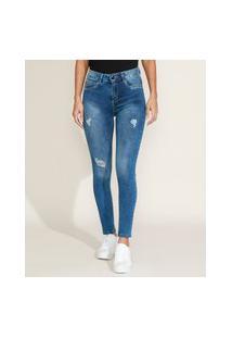 Calça Jeans Feminina Sawary Super Skinny Levanta Bumbum Cintura Alta Destroyed Azul Escuro