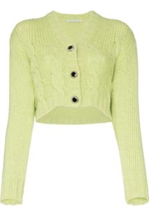 Alessandra Rich Crop Wool Knit Cardigan - Verde