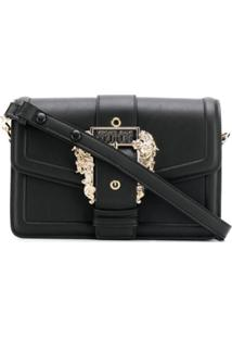Versace Jeans Couture Logo Buckle Shoulder Bag - Preto