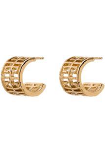 Givenchy Par De Brincos De Argola Com Logo - 710 Gold
