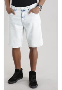 Bermuda Jeans Reta Com Algodão + Sustentável Azul Claro