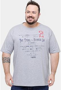 Camiseta Plus Size Eagle Brasil Power Masculina - Masculino