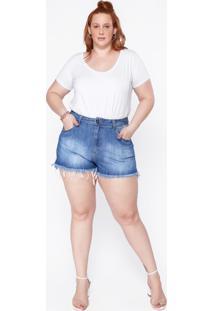 Shorts Plus Size Jeans Bicolor - Azul Azul