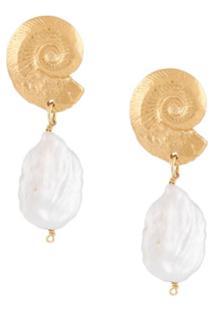 Natalie Perry Par De Brincos Ammonite Com Detalhe De Pingente - Dourado