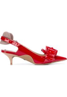 f0a507bf0 Farfetch. Sapato Feminino Com Salto Baixo Vermelho Bico Fino Acolchoado  Fivela Aberto Verniz Couro ...
