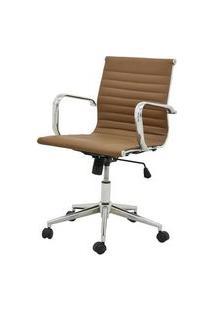 Cadeira Sevilha Eames Baixa Cromada Pu Marrom Escuro - 37792 Marrom