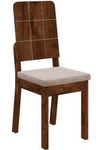 Cadeira Dama 2 Peças - Rústico Malbec - Suede Pena Bege