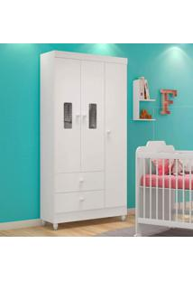 Guarda Roupa Infantil 3 Portas Vitória Peternella Móveis Flex Color Branco/Rosa