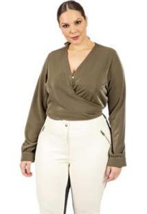 Blusa Almaria Plus Size Lady More Liso Feminina - Feminino-Verde