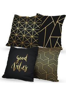 Kit 4 Capas De Almofadas Decorativas Own Good Vibes 45X45 - Somente Capa