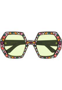 Gucci Eyewear Óculos De Sol Oversized Com Aplicação De Cristais - Preto
