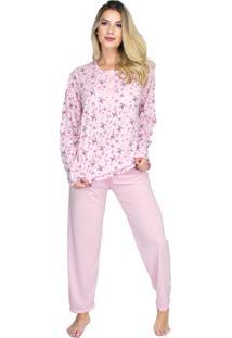 Pijama Longo Bravaa Modas Blusa Botões 017 Rosa