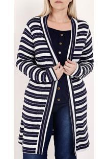 Cardigan Listrado Plus Size Feminino Azul/Branco