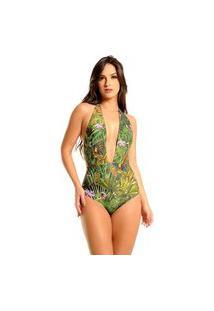 Maiô Mos Beachwear Decote Longo Achillea Floresta