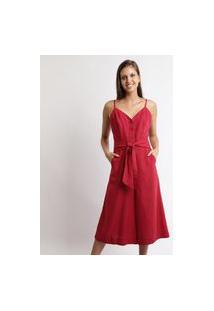 Macacão Feminino Pantalona Com Faixa Para Amarrar Alça Fina Vermelho