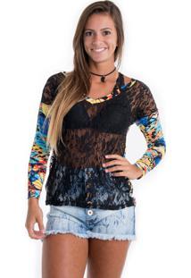 94ba015473 ... Blusa Kam Bess Mullet De Renda Azul