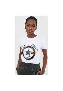 Camiseta Planet Girls Lettering Branca