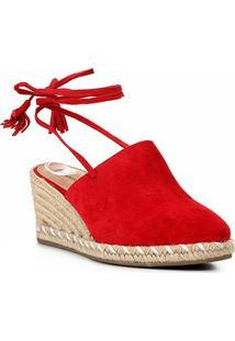 Sandália Anabela Shoestock Corda Camurça Feminina - Feminino-Vermelho