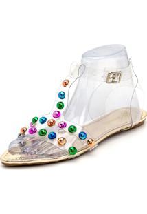 Sandália Rasteira Aberta Tiras Em Cristal E Pedras Coloridas