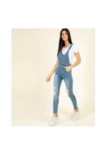 Macacão Feminino Jeans Destroyed Zune Jeans