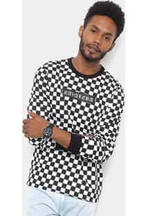 Camiseta Cavalera Manga Longa Box Quadriculada Masculina - Masculino-Preto+Branco