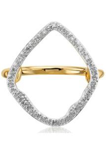 Monica Vinader Anel Gp Riva De Argola Com Diamante - Dourado