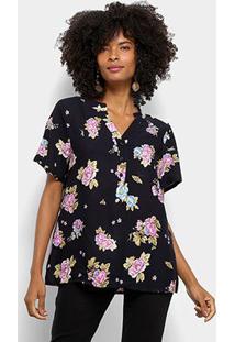 Camisa Mi Manga Curta Estampada Feminina - Feminino-Preto+Lilás
