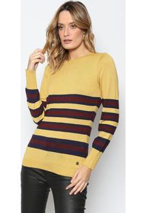 Blusa Em Tricô Listrada - Amarelo Escuro & Bordô - Ddudalina