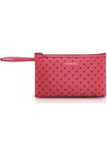 Necessaire Com Alça Tam. G Estampa Coração Jacki Design Pink Lover Salmão