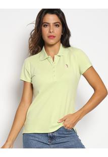 Polo Slim Fit Em Piqu㪠Com Bordado- Verde Claro & Pinkaleatory