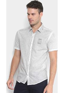 Camisa Calvin Klein Manga Curta Estampada Masculina - Masculino-Branco