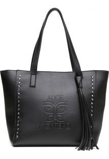 Bolsa Alice Monteiro Sacola Com Metais Grande Franja Preto - Tricae