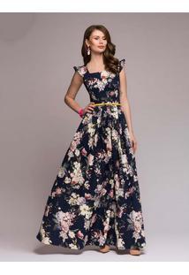 Vestido Longo Estampa Flores Manga Raglán - Azul M