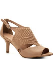 Sandália Couro Shoestock Salto Fino New Matelassê Feminina - Feminino-Bege