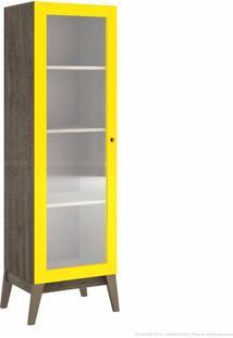Estante Livreiro 1 Porta De Vidro 0809 Com Pés Palito Demolição/Amarelo - Genialflex