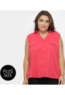 Blusa Regata Heli Plus Size C/ Botões Feminina - Feminino-Vermelho