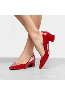 Scarpin Bebecê Salto Baixo Bico Fino - Feminino-Vermelho Escuro