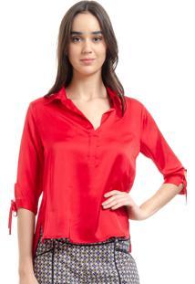 Camisa 101 Resort Wear Polo Cetim Liso Vermelho