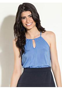 Blusa Quintess De Alças Com Amarração Azul
