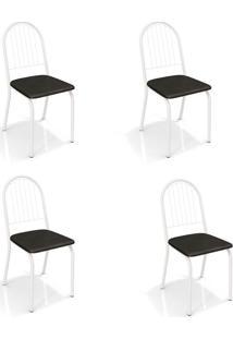 Conjunto Com 4 Cadeiras De Cozinha Noruega Branco E Preto