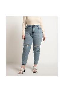 Calça Mom Jeans Com Rasgos No Joelho Curve & Plus Size | Ashua Curve E Plus Size | Azul | 46