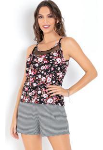 Blusa De Alças Floral Com Recorte Em Tule
